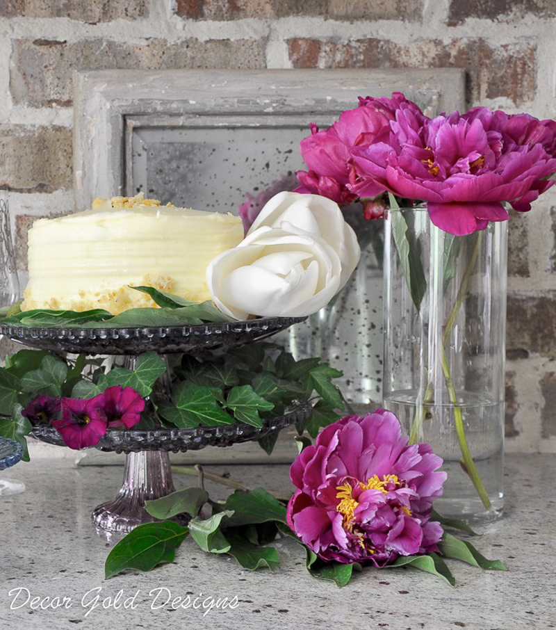 Cake Stand with Ivy Buttercream Cake and Peonies_