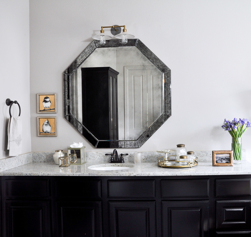 Gorgeous Bathroom with Black Cabinets and Accesories