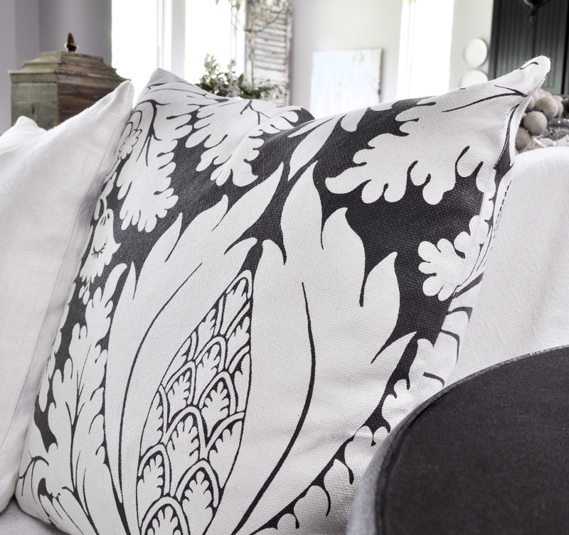 Damask Print Summer Pillow Gray and White