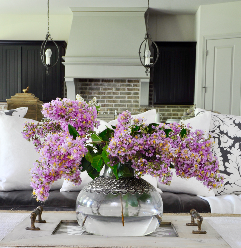 Gorgeous Statement Vase Full of Summer Pink Crepe Myrtles on a Coffee Table Tray