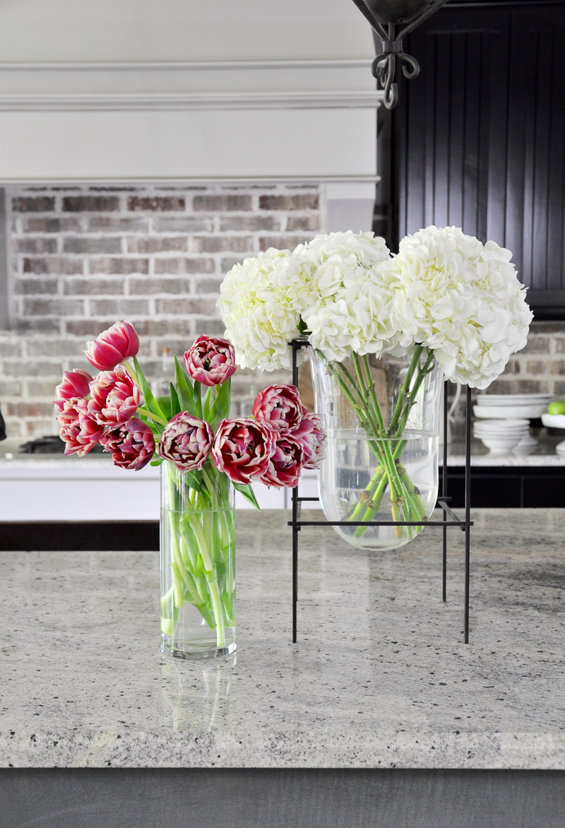 Kitchen Flowers in Glass Vases_