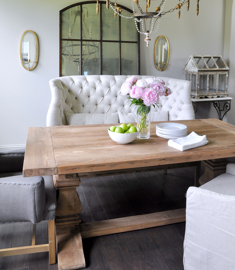 Summer Home Tour Beautiful Pink Peonies in Dining Room_