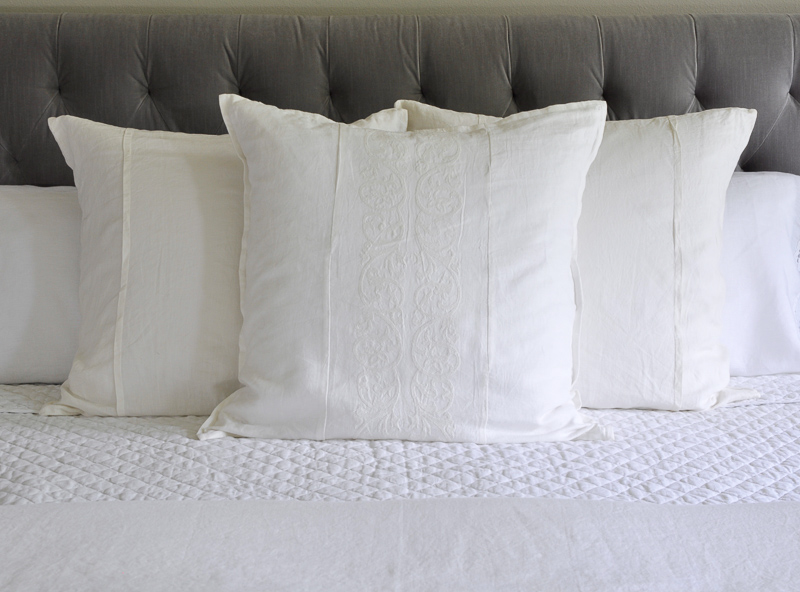 adding euro shams to all white summer bed