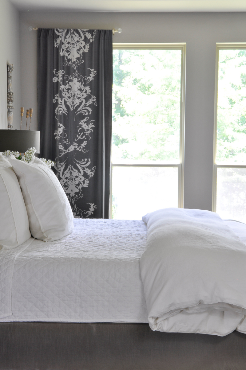 96 romantic gray and white bedroom with linen bedding