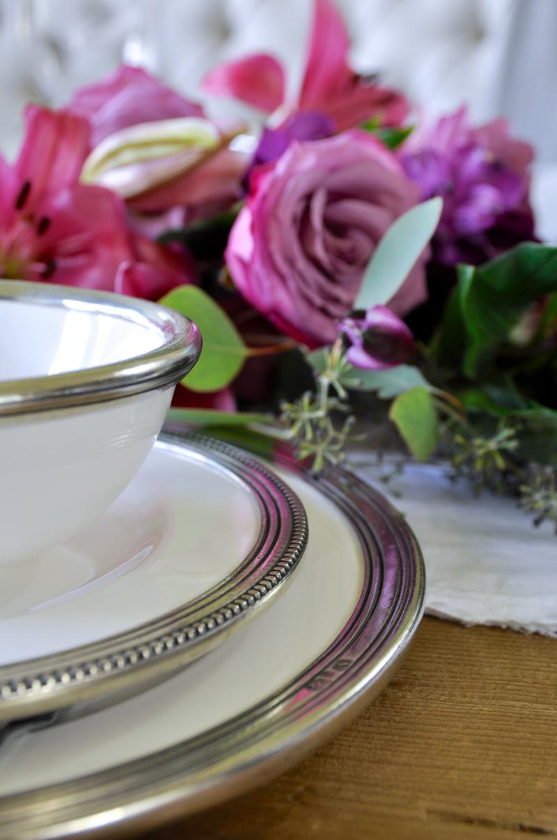 ceramic dish details with pewter rims casual or elegant dining