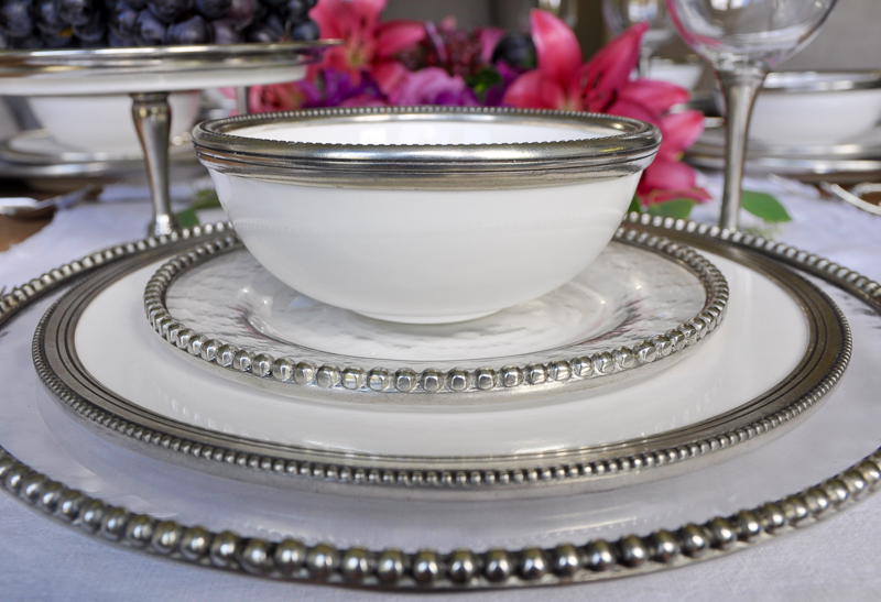 dinnerware with beaded rim ceramic and pewter so gorgeous