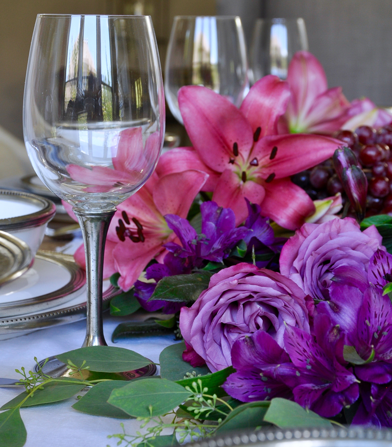 glass with pewter stem wine glasses set with jewel tone flowers_