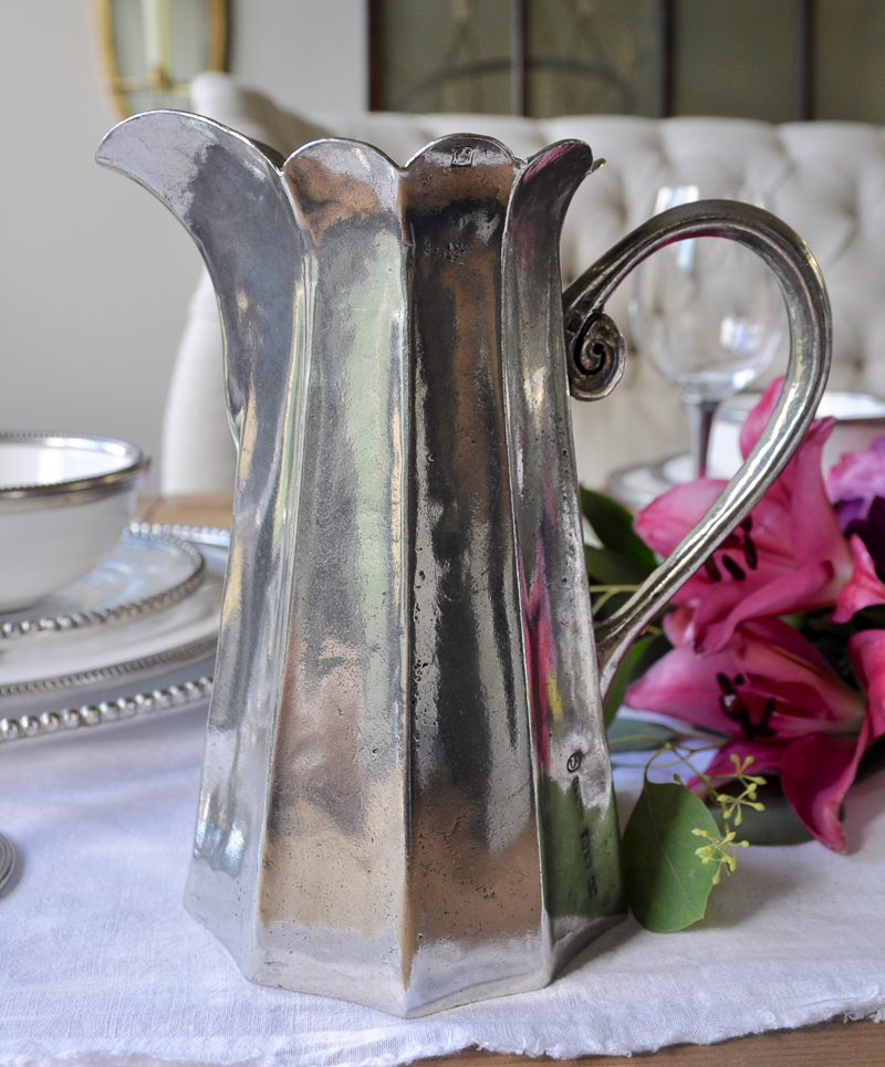 gorgeous pewter pitcher with scalloped edge_