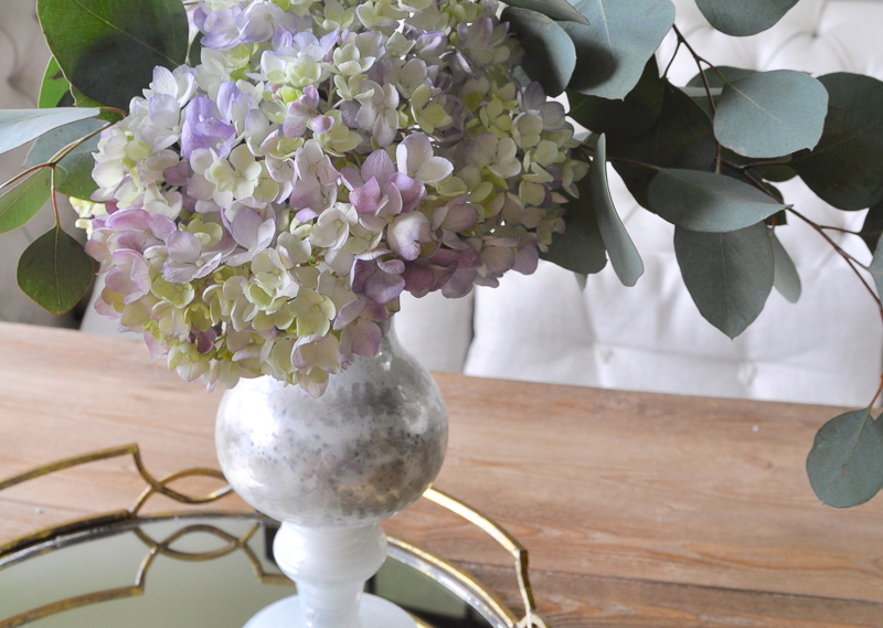 Beautiful gold tray with purple hydrangeas in dining room-2