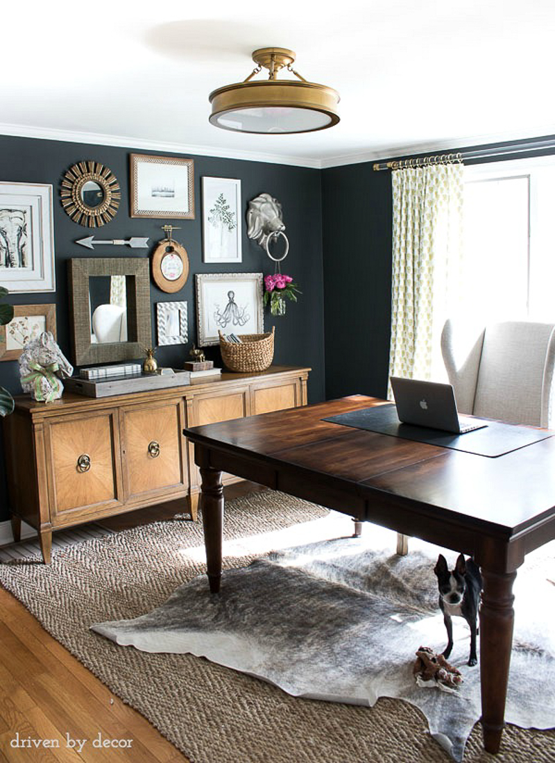 Beautiful home office gallery wall by Driven by Decor