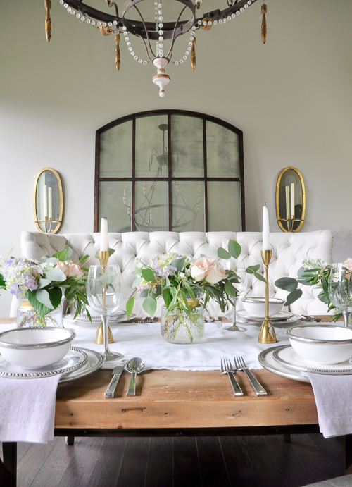Beautiful white dining room with restoration hardware furniture