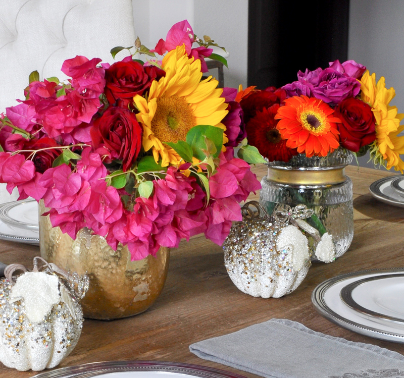 beautiful-bright-pink-and-yellow-bougainvillea-and-sunflowers-tablescape