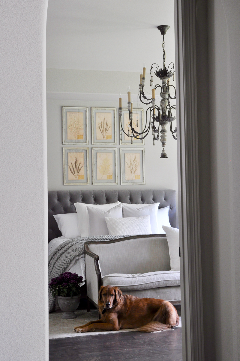 beautiful-gray-and-white-bedroom-with-large-chandelier_