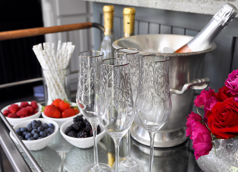 champagne-station-on-a-bar-cart-for-a-bridal-shower-so-beautiful