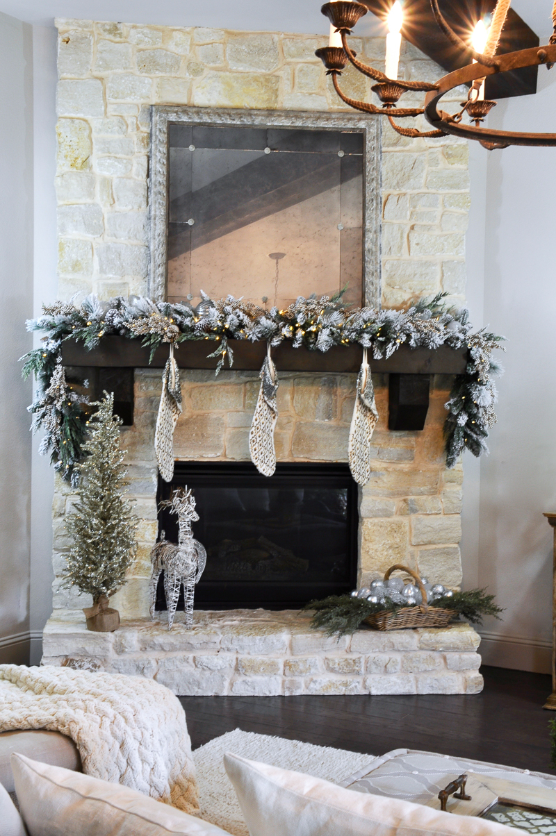 Christmas Mantle.A Rustic Holiday Mantle With Flocked Garland Decor Gold