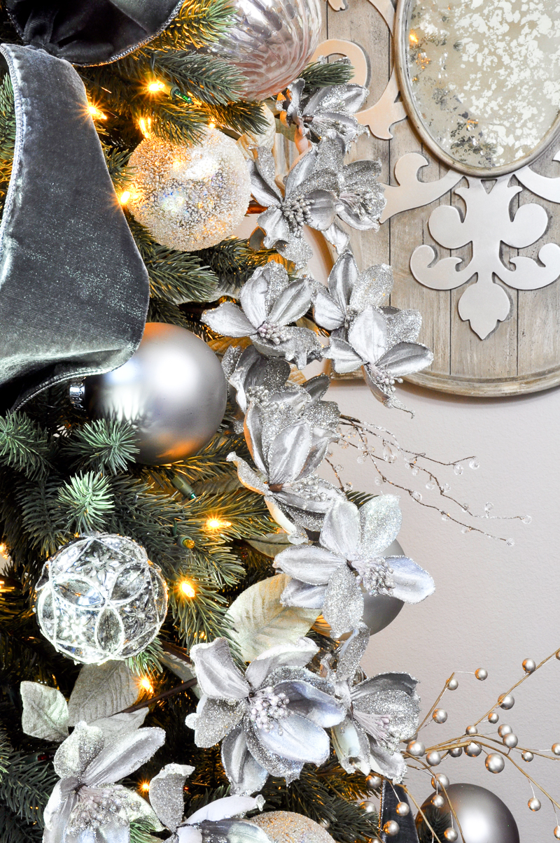 Silver Magnolias In Christmas Tree
