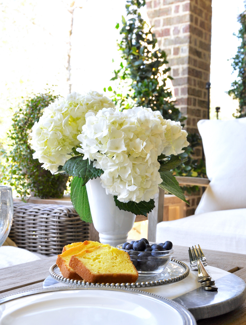 Beautifully styled updated patio with snacks