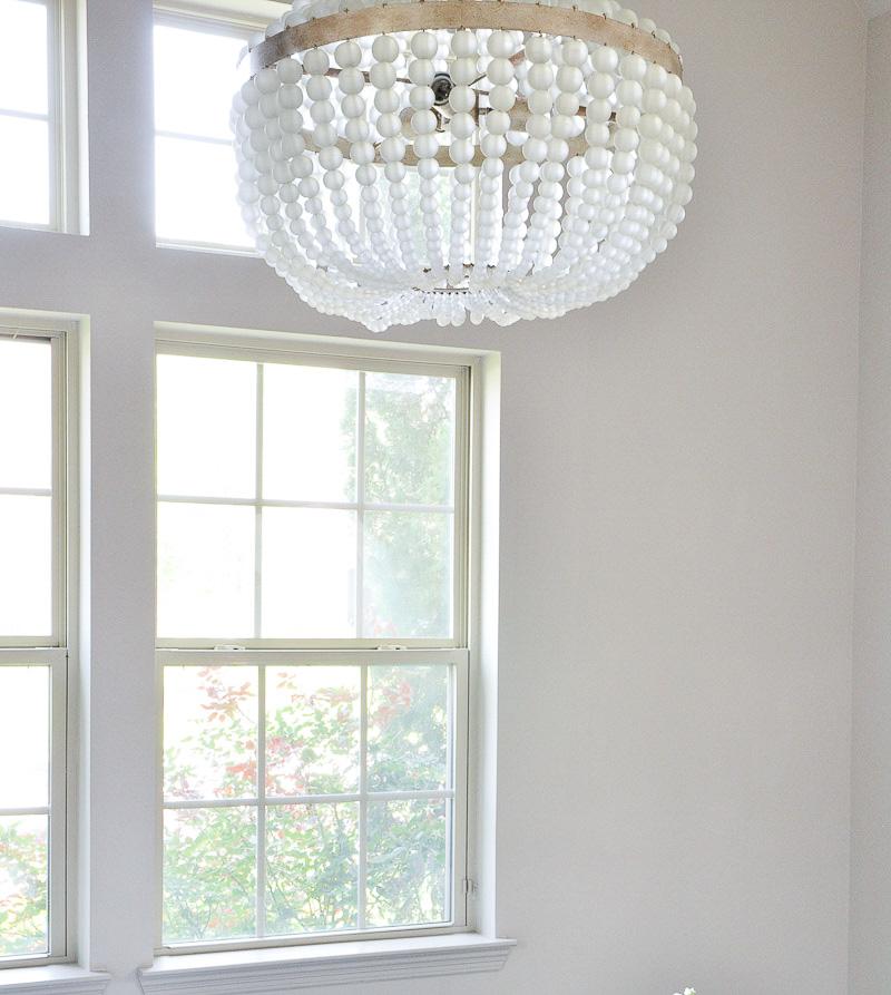 Gorgeous chandelier in One Room Challenge bedroom