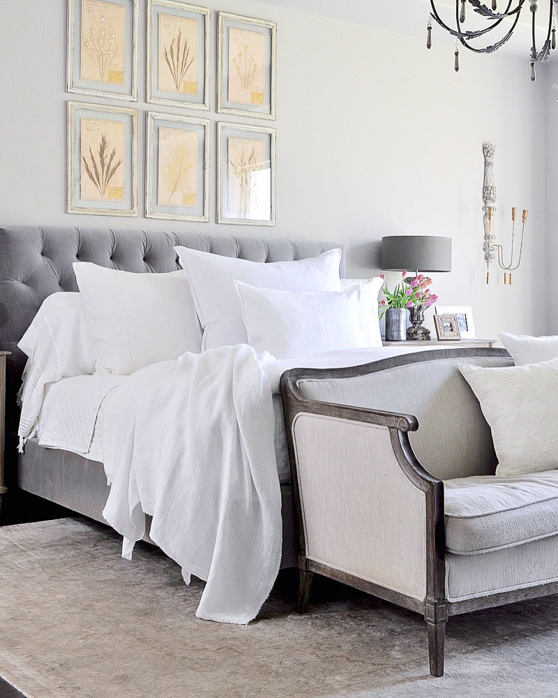 Love the bedding! White linen is perfect for the One Room Challenge