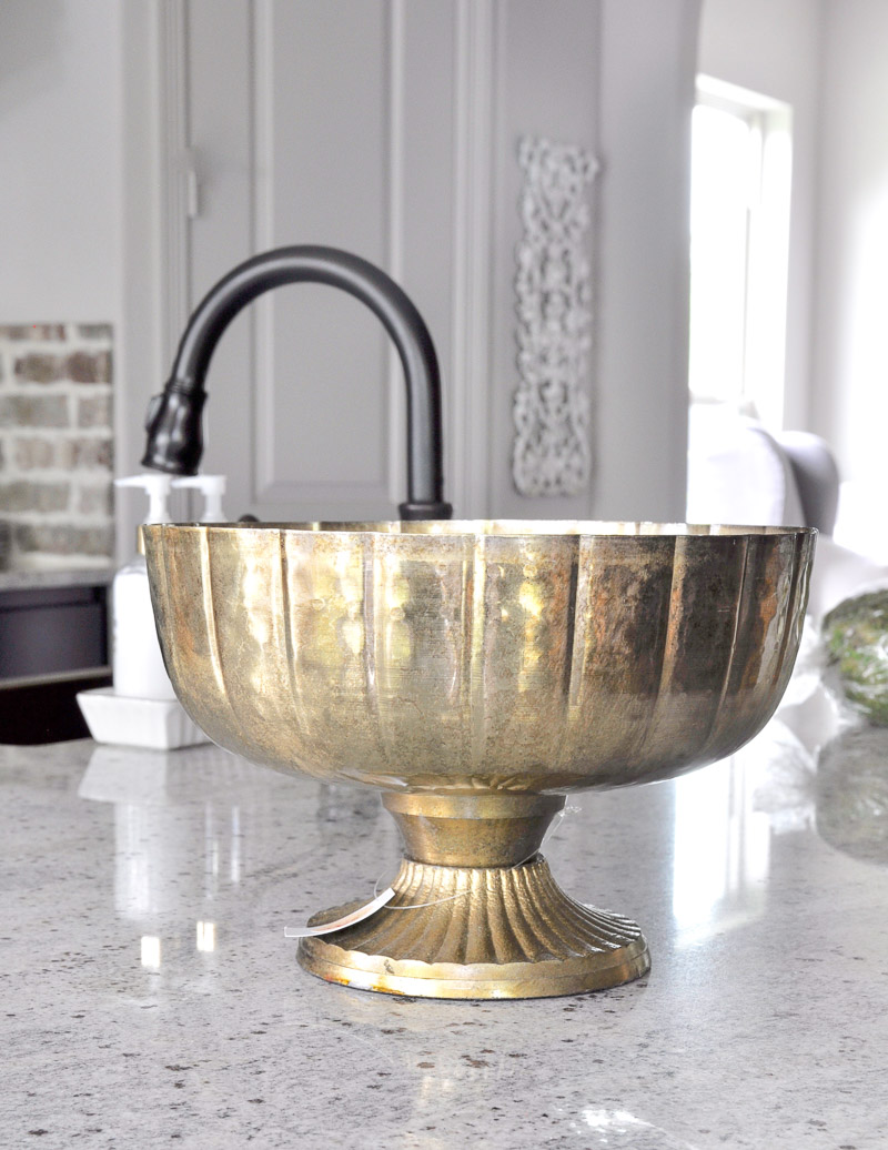 brass pedestal bowl for arrangement