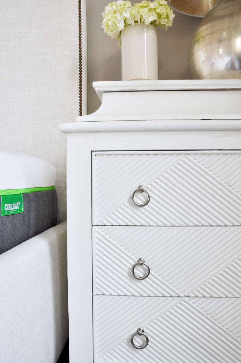 Love the details on this nightstand in One Room Challenge makeover