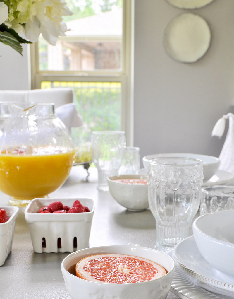 Beautiful table set for a summer breakfast