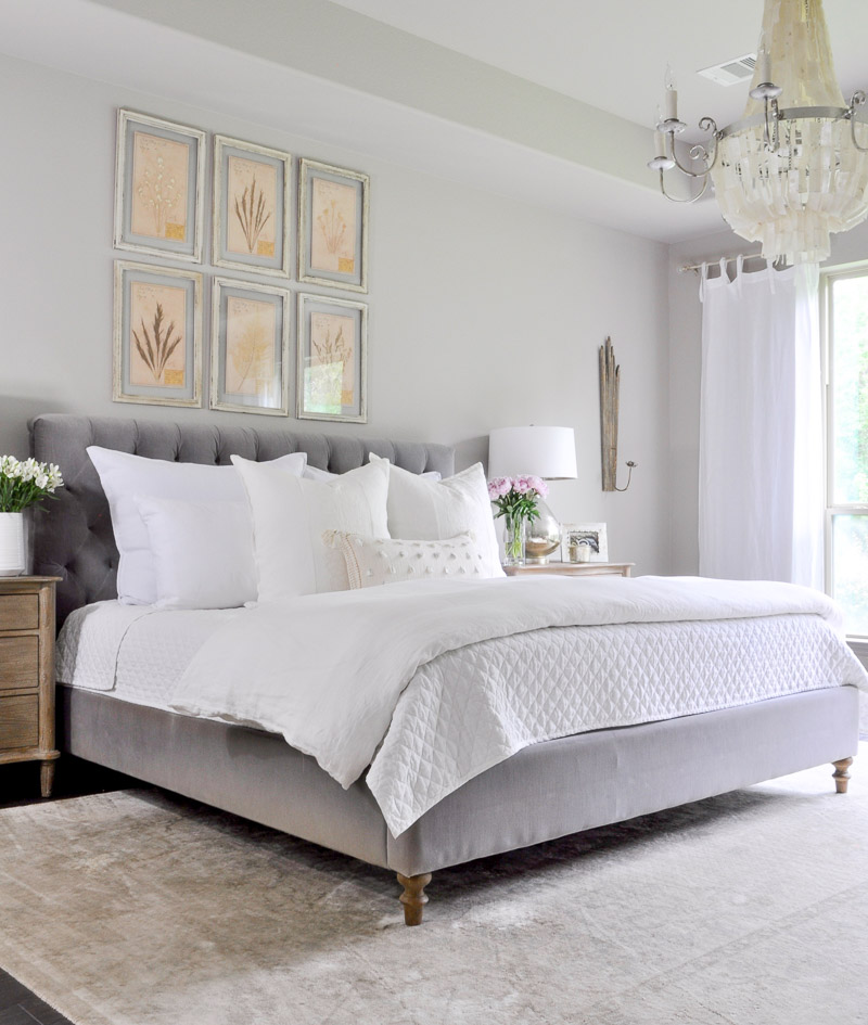 elegant gray and white bedroom
