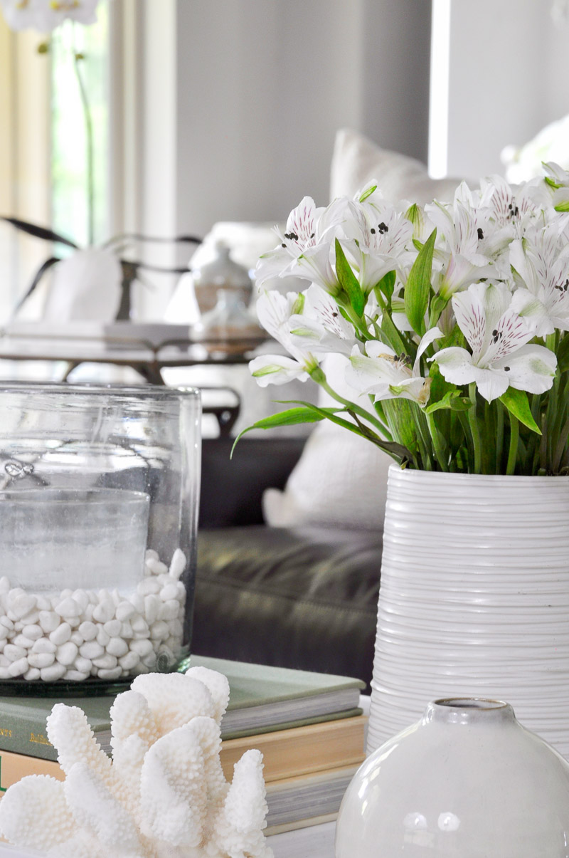 Here A New White Coffee Table Tray And Simple White Accessories Are An Easy Way To Lighten And Brighten For The Season