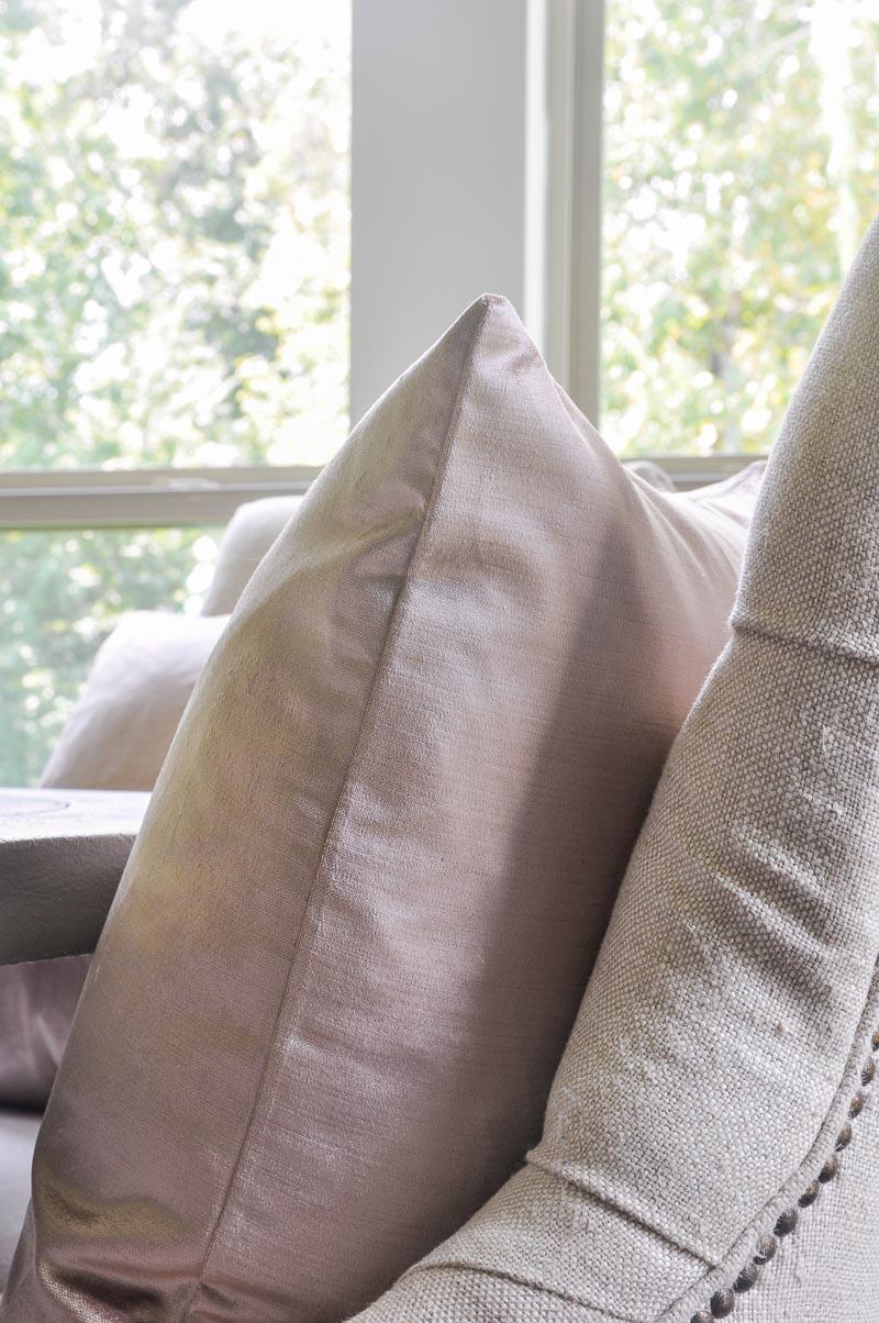 blush pink velvet pillow