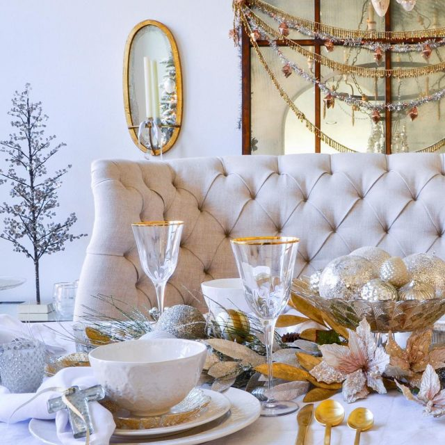 My easy gold and white Christmas dining table is parthellip