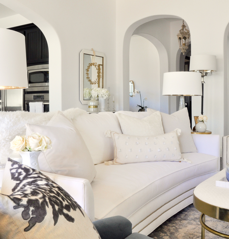beautiful white sofa white pillows
