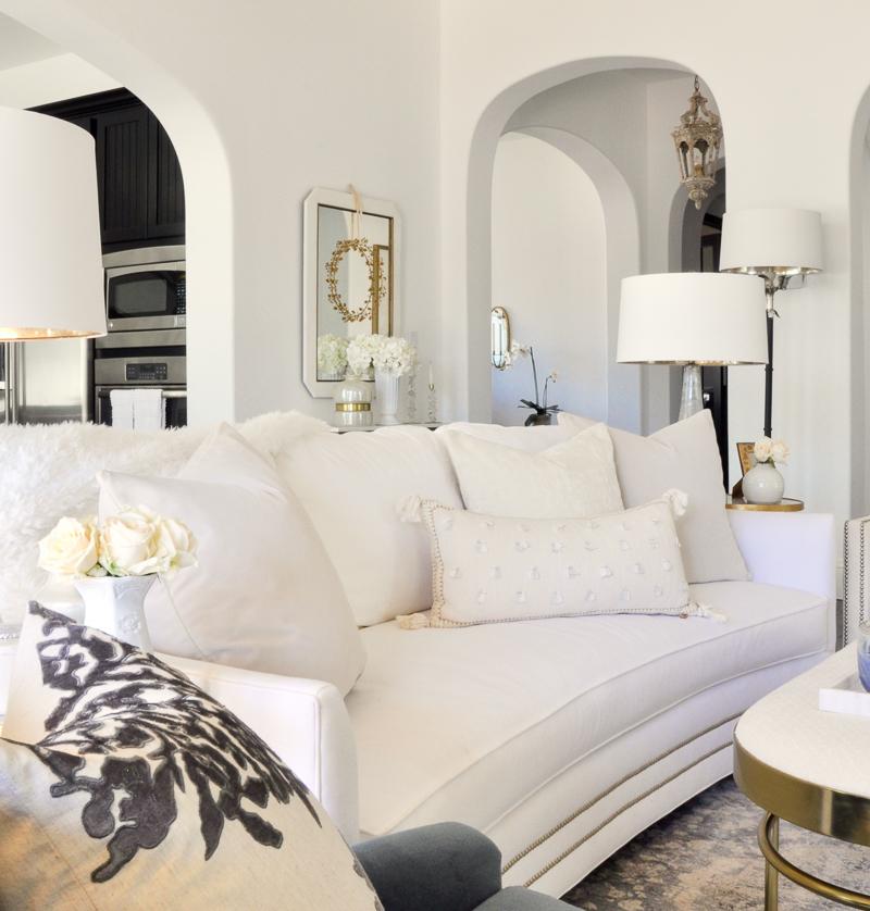 beautiful white sofa white pillows