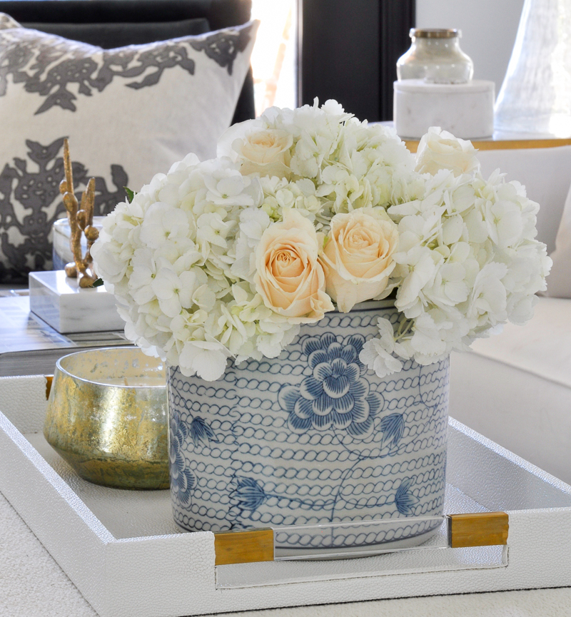 coffee table accessories blue and white