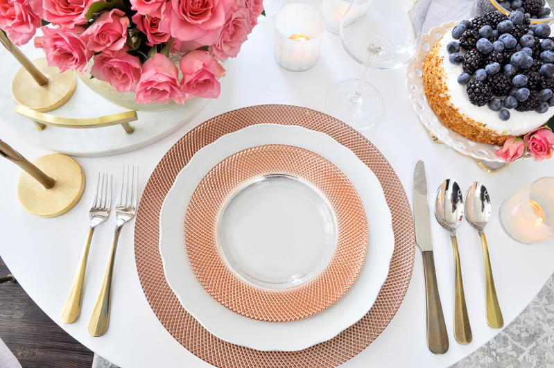glam valentines table with rose gold dishes