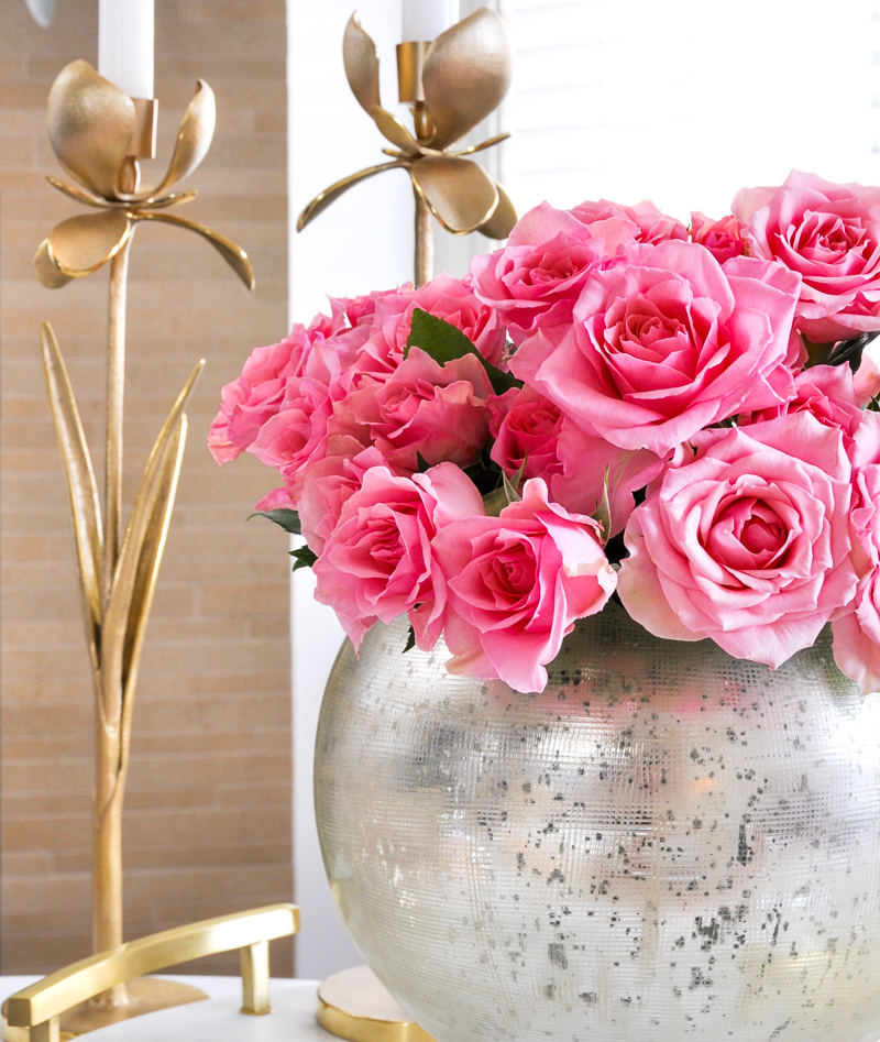 glam valentines table with silver, gold and pink