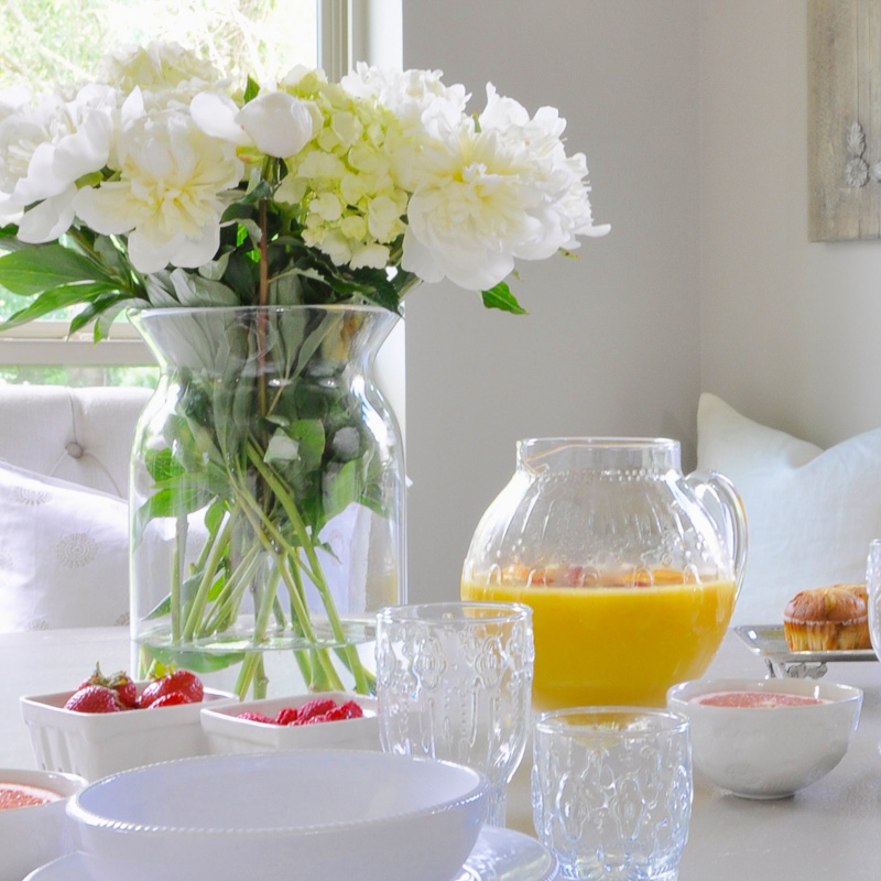 gorgeous breakfast spread in bright breakfast nook