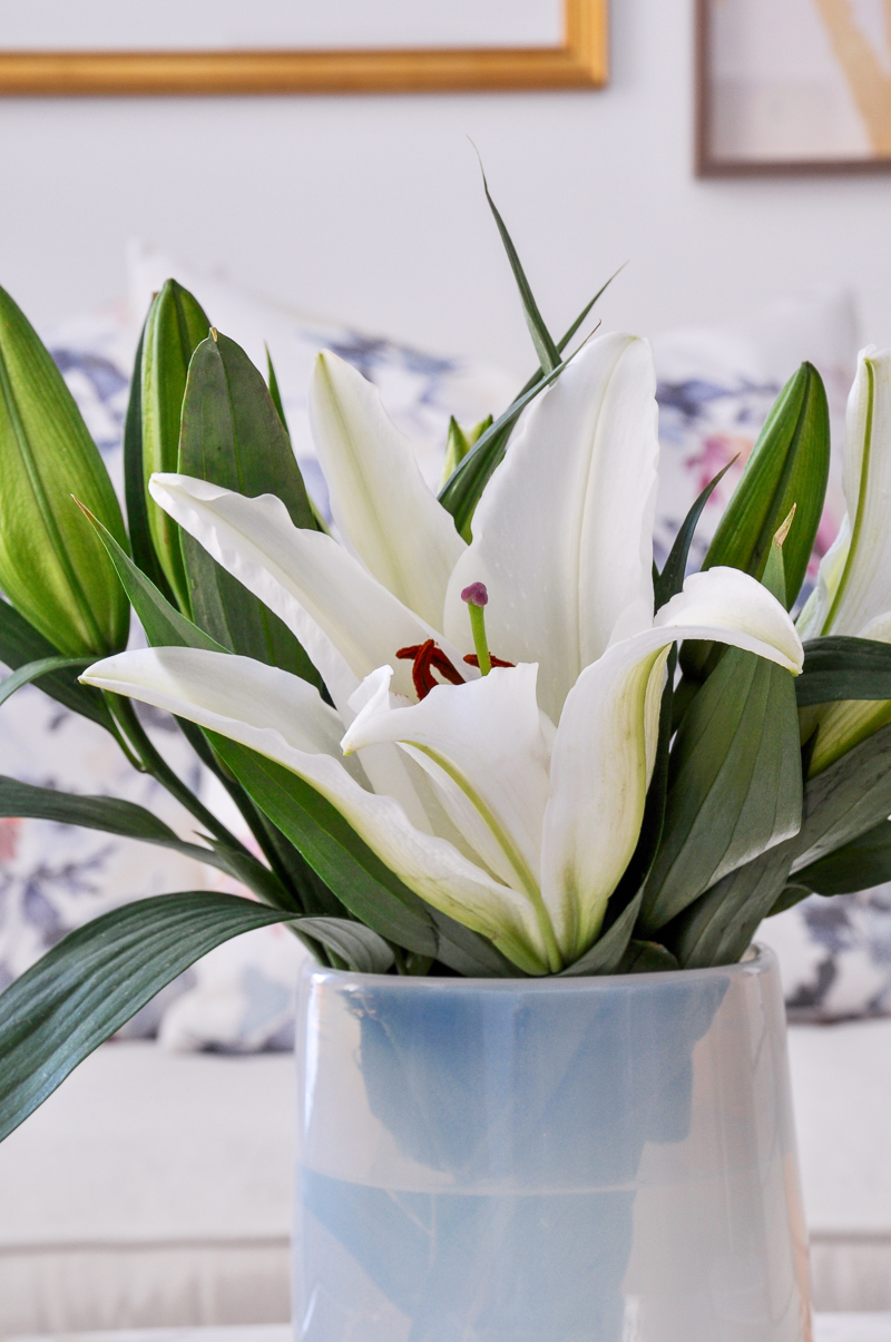 simple easter lilies arrangement