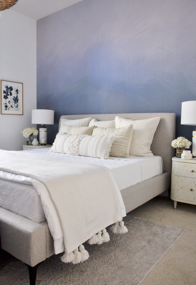 beautiful neutral bed and bedding
