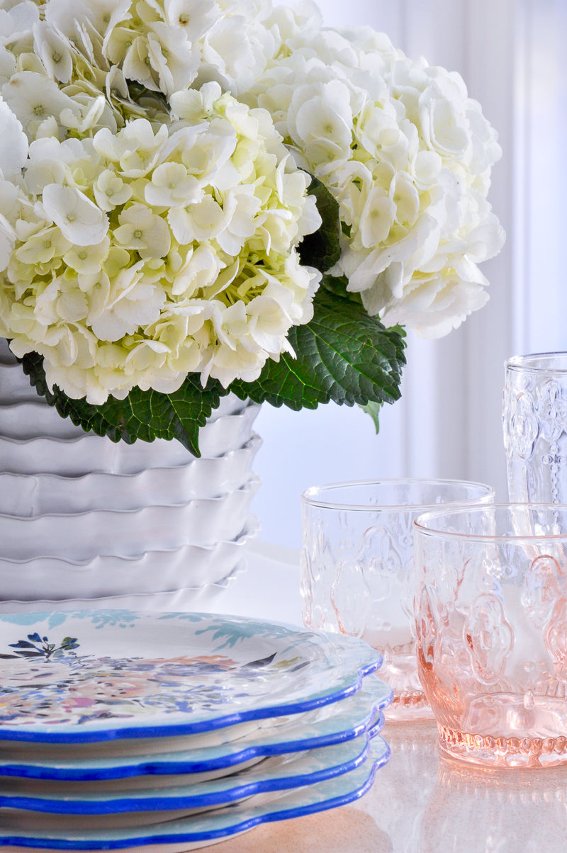 beautiful easter arrangement with pink glassware