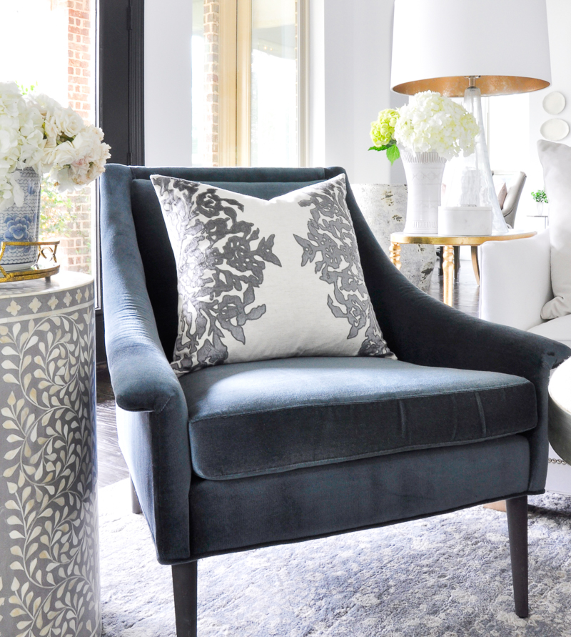gorgeous blue velvet living room chair