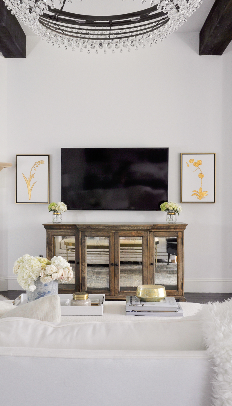 living room console and television view