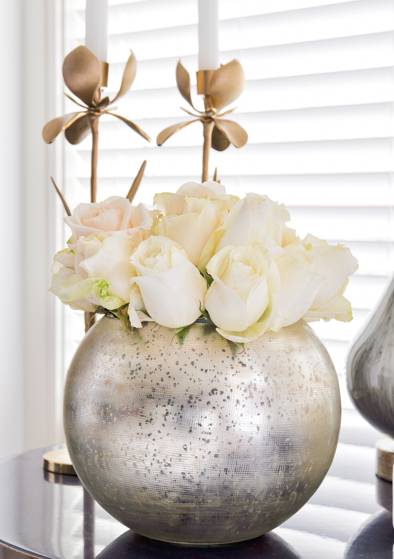 gorgeous roses in a round vase