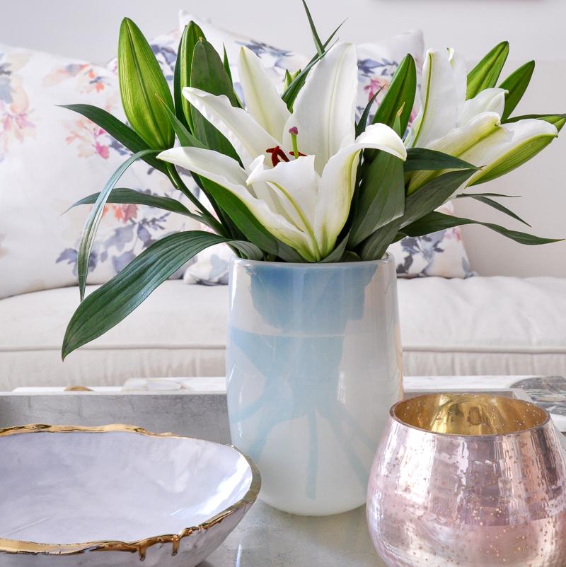 simple easter lilies arrangement