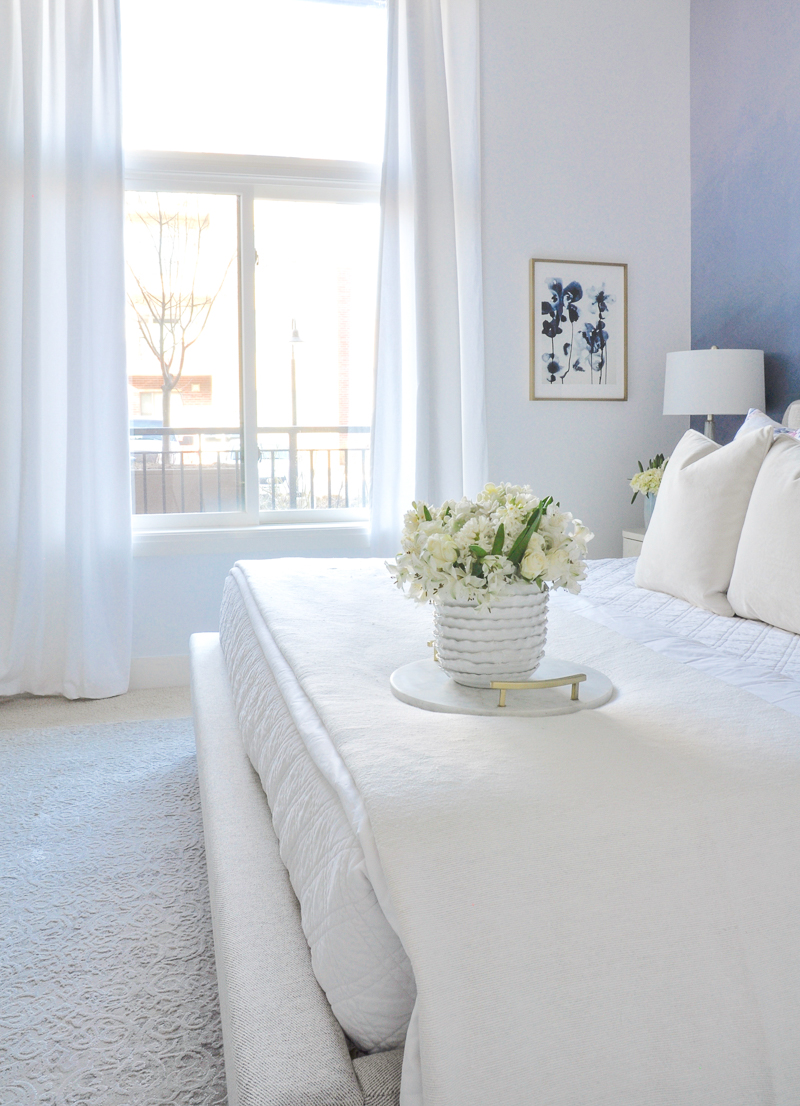 beautiful bedding in layers of white