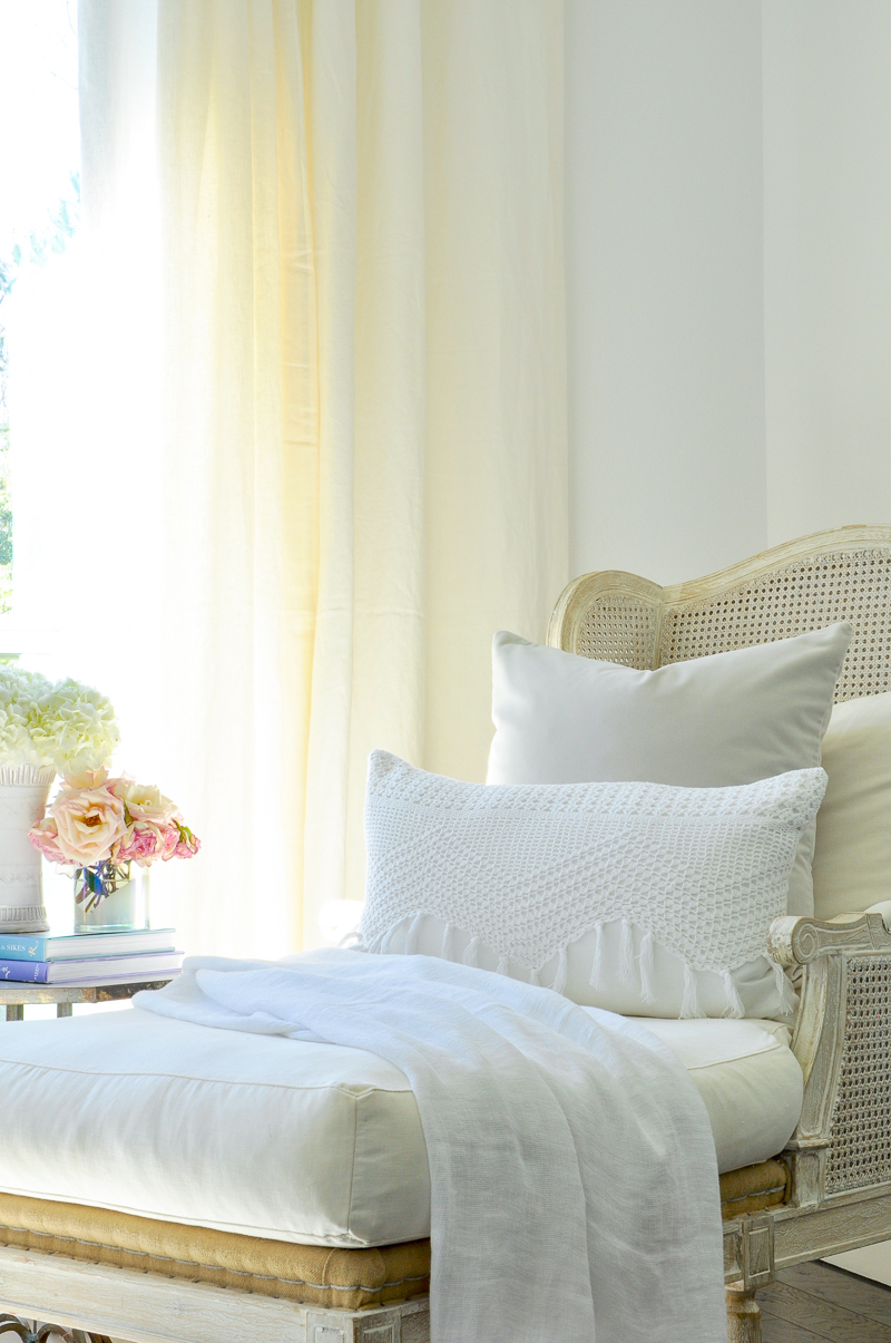 beautiful bedroom corner with chaise lounge