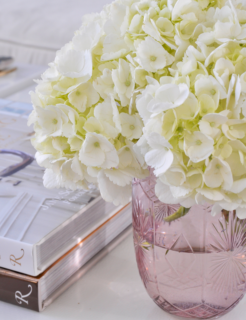 beautiful blush vase with hydrangeas