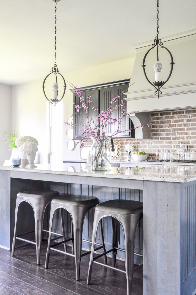 beautiful kitchen decked out for spring