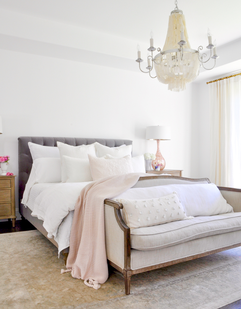 Beautiful White And Blush Bedroom