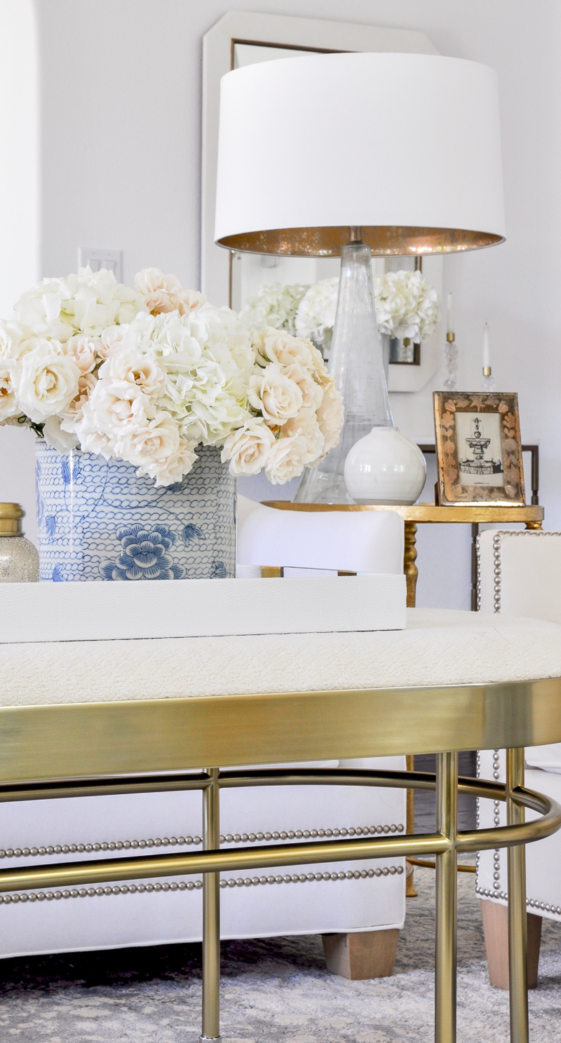 blue and white planter in glam living room