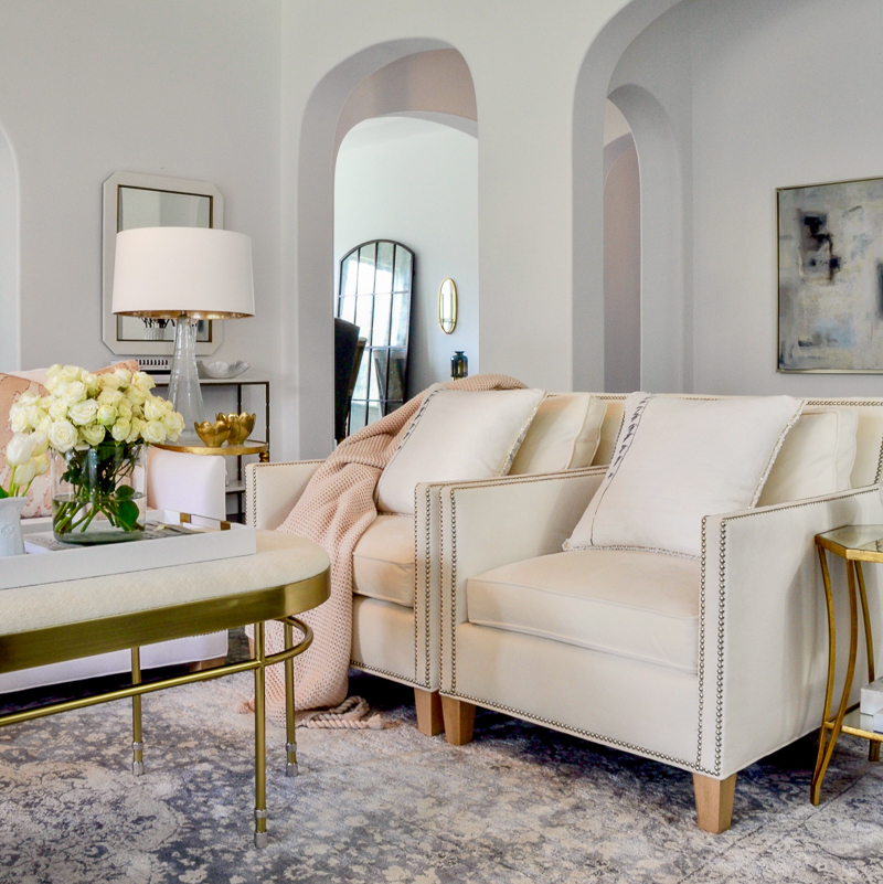 blush accents living room